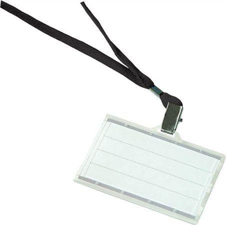 Visačka so závesným remienkom, 85x50 mm, čierna, plastová, DONAU