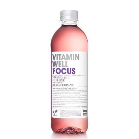 """Vitamínová voda, nesýtená, 0,5 l, VITAMIN WELL, """"Focus"""", čierna ríbezľa, s kofeínom"""