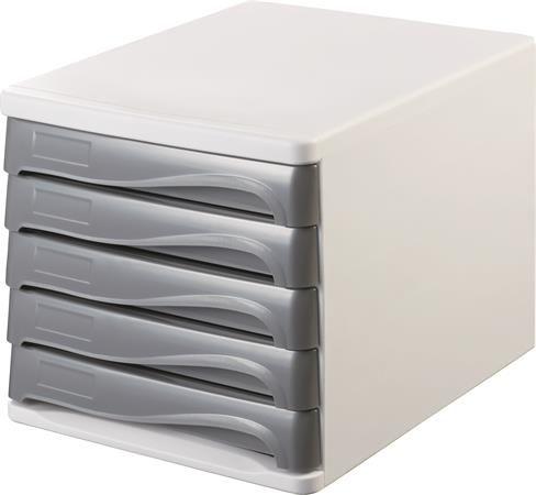 Zásuvkový box na dokumenty, plast, 5 zásuviek, HELIT, sivý/sivý