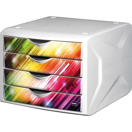 """Zásuvkový box na dokumenty, plastový, 4 zásuvky, HELIT """"Chameleon"""", biela-viacfarebná"""