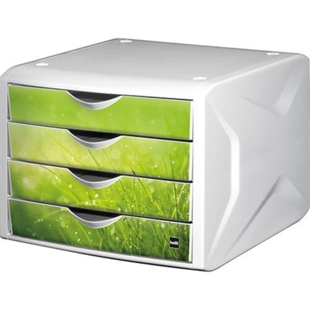 """Zásuvkový box na dokumenty, plastový, 4 zásuvky, HELIT """"Chameleon"""", biela-zelená"""
