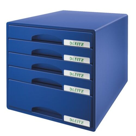 """Zásuvkový box na dokumenty, plastový, 5 zásuviek, LEITZ """"Plus"""", modrý"""