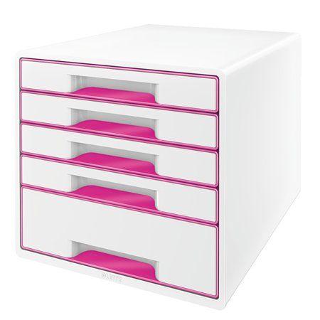 """Zásuvkový box na dokumenty, plastový, 5 zásuviek, LEITZ """"Wow Cube"""", biely/ružový"""