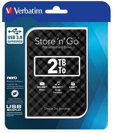 """2,5"""" HDD (pevný disk), 2TB,  USB 3.0, VERBATIM """"Store n Go, čierna"""