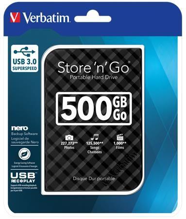 """2,5"""" HDD (pevný disk), 500GB, USB 3.0, VERBATIM """"Store n Go"""", čierna"""