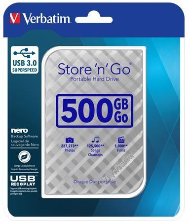 """2,5"""" HDD  (pevný disk), 500GB, USB 3.0, VERBATIM """"Store n Go"""", strieborná"""