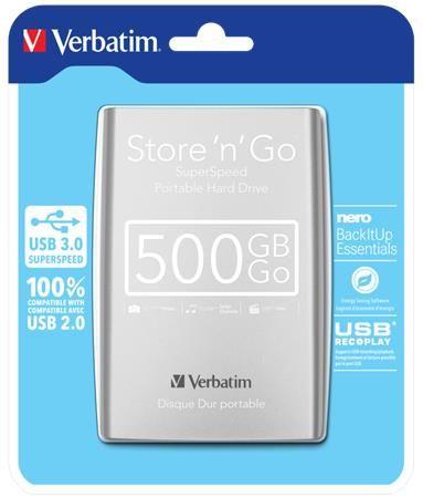 """2,5"""" HDD (pevný disk), 500GB, USB 3.0, VERBATIM, strieborný"""