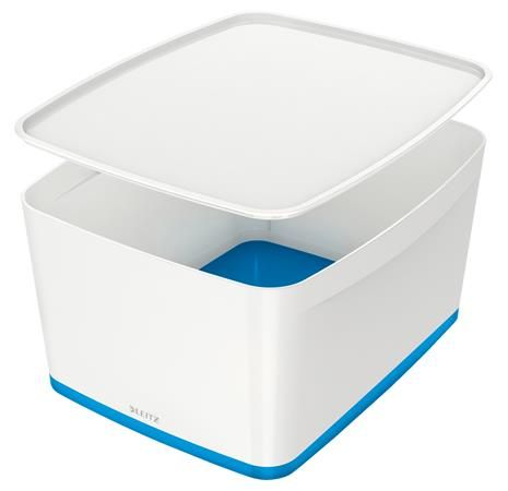 """Archivačná krabica, s vekom, veľká, LEITZ """"MyBox"""", biela-modrá"""