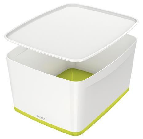 """Archivačná krabica, s vekom, veľká, LEITZ """"MyBox"""", biela-zelená"""