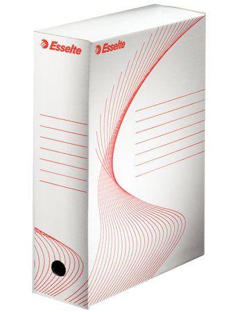 """Archívny box, A4, 100 mm, kartón, ESSELTE """"Standard"""", biely"""