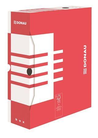 Archívny box, A4, 100 mm, kartónový, DONAU, červený