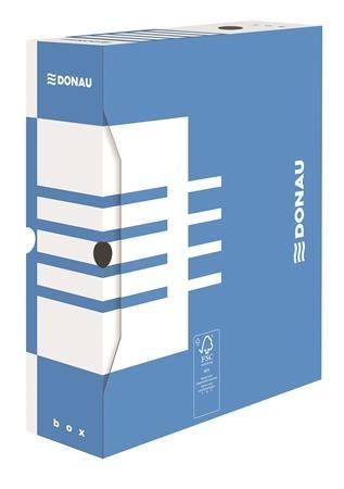 Archívny box, A4, 100 mm, kartónový, DONAU, modrý