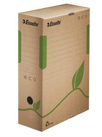 """Archívny box, A4, 100 mm, recyklovaný kartón, ESSELTE """"Eco"""", hnedý"""