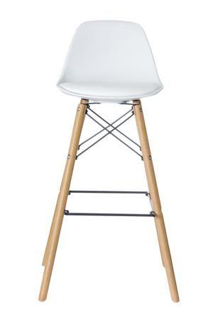 """Barová stolička, plastová s drevenými nohami, 2 ks,  PAPERFLOW """"Steelwood"""" biela"""