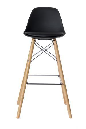 """Barová stolička, plastová s drevenými nohami, 2 ks, PAPERFLOW """"Steelwood"""" čierna"""