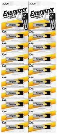 "Batéria, AAA mikrotužková, 20 ks, po jednom trhateľné, ENERGIZER ""Alkaline Power Kartella"""