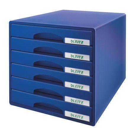 """Box na dokumenty, plastový, 6 zásuviek, LEITZ """"Plus"""", modrý"""