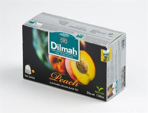 Čierny čaj, 20x1,5g, DILMAH, s vôňou broskyne