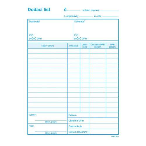 Dodací list s DPH A5 samoprep