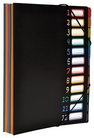 """Doska na dokumenty, s gumičkou, 12 častí, VIQUEL """"Rainbow Class"""", čierna"""