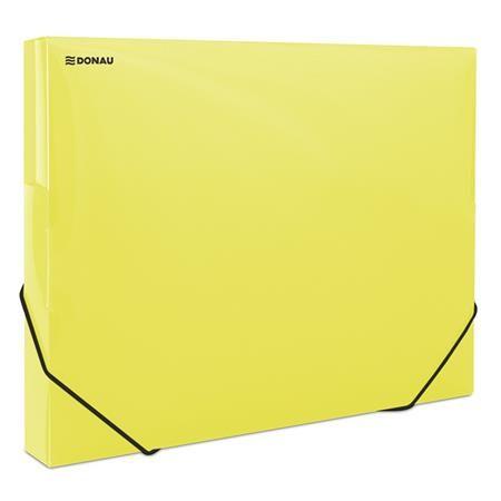 Doska s gumičkou, 30 mm, PP, spevnená, A4, DONAU, priehľadná žltá