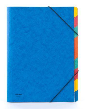 Doska s gumičkou, kartón, A4, na triedenie dokumentov, 9 dielová, DONAU, modrá