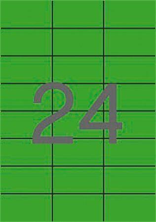 Etikety, 70x37 mm, farebné, APLI, zelené, 2400 etikiet/bal