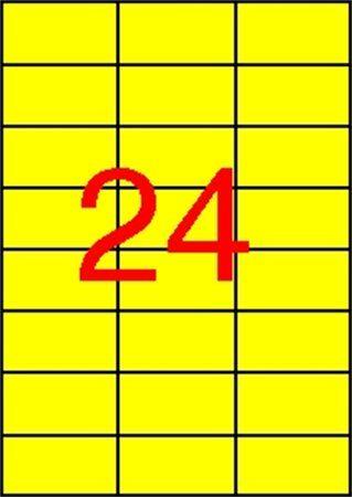 Etikety, 70x37 mm, farebné, APLI, žlté, 2400 etikiet/bal