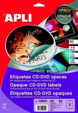 "Etikety, na CD/DVD, A4, matné, APLI ""Mega"""