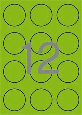 Etikety, okrúhle, priemer: 60 mm, farebné, APLI, neónové zelené, 240 etikiet/bal