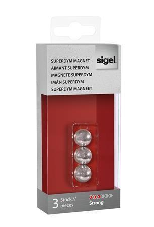 """Extra silný magnet v tvare gule, 3 ks SIGEL """"SuperDym"""", strieborný"""
