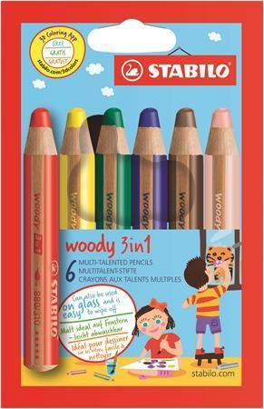"Farebná ceruzka, hrubá, STABILO ""Woody"", 6 rôznych farieb"