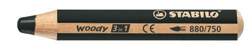 """Farebná ceruzka, hrubá, STABILO """"Woody"""", čierna"""