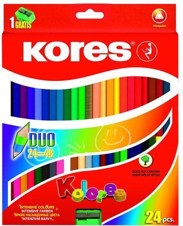 """Farebné ceruzky, s 2 hrotmi, trojuholníkový tvar, KORES """"Duo"""", 24 rôznych farieb"""
