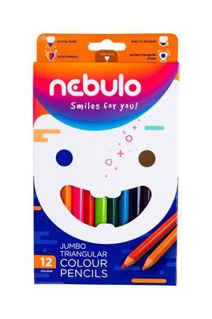 Farebné ceruzky, sada, trojhranné, jumbo, NEBULO, 12 rôznych farieb