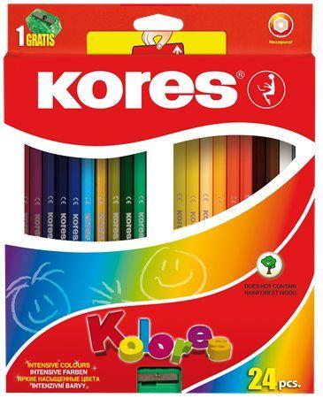 """Farebné ceruzky, šesťhranné, KORES """"Hexagonal"""", 24 rôznych farieb"""