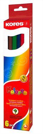 """Farebné ceruzky, šesťhranné, KORES """"Hexagonal"""", 6 rôznych farieb"""