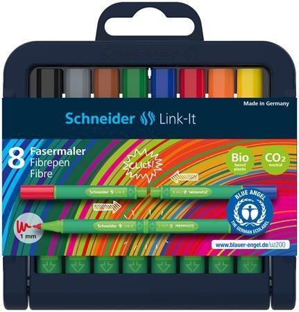 """Fixky, sada, 1 mm, SCHNEIDER """"Link-it"""", spojiteľné, 8 rôznych farieb"""