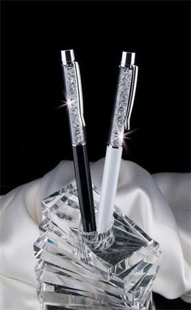 Guľôčkové pero, s bielym krištáľom SWAROVSKI®, 14 cm, ART CRYSTELLA, krémovo biela