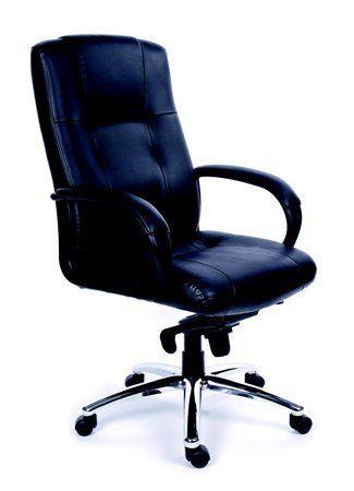 """Kancelárska stolička, hojdací mechanizmus, čierna koža, chrómový podstavec, MaYAH """"Enterpr"""