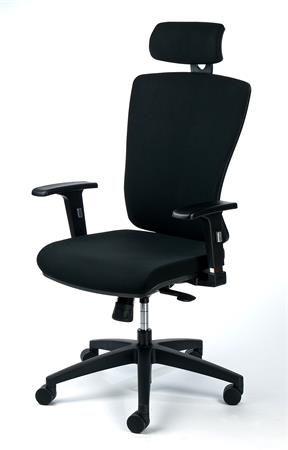 "Kancelárska stolička, nastaviteľné opierky rúk, čierny poťah, čierny podstavec, MAYAH ""Gre"