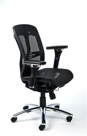 Kancelárska stolička, nastaviteľné opierky rúk, sieťované sedadlo, hliníkový podstavec, MA