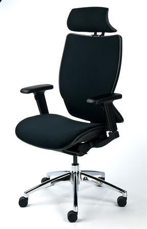 Kancelárska stolička, opierka hlavy, čierny poťah, sieťové operadlo, hliníkový podstavec,