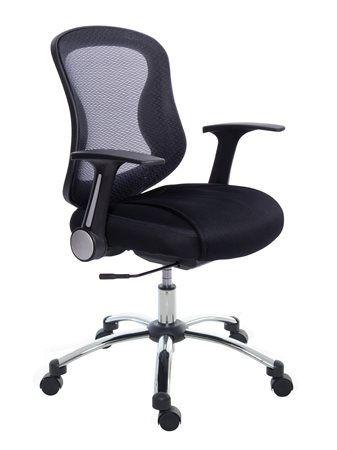 Kancelárska stolička, s opierkami, čierne čalúnenie, sieťové operadlo, chrómový podstavec,
