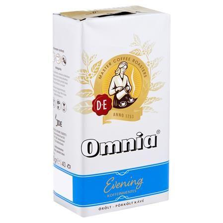 """Káva, pražená, mletá, vákuové balenie, 250 g,  DOUWE EGBERTS """"Omnia Evening"""", bezkofeínová"""