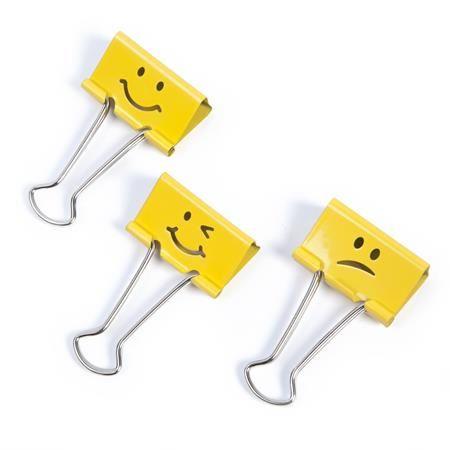 "Klipy na dokumenty, 19 mm, ""Emoji"", RAPESCO, žlté"