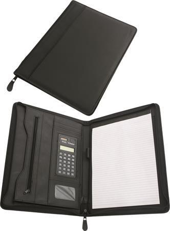 Konferenčná doska, A4, koženka, s kalkulačkou, čierna