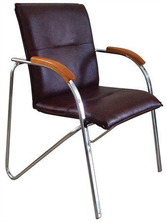 """Konferenčná stolička, koženka, chrómová oceľ, opierka rúk: čerešňa,  """"Sabina"""", čierna"""