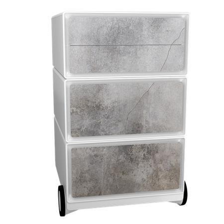 Kontajner na kolieskach, 4 zásuvky, PAPERFLOW, betón