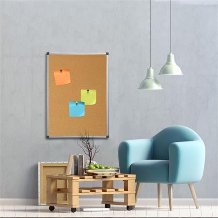 Korková tabuľa, 90x120 cm, hliníkový rám, VICTORIA